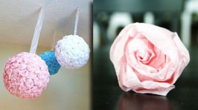 Навесной шар из бумажных цветов - своими руками
