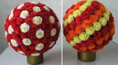 Как сделать шар из цветов, из бумаги. Корзина с цветами из шаров