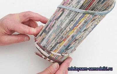 Подставка под бутылки / фальшивки из газетных трубочек