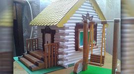 Деревянный дом построенный из бумаги