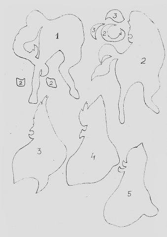 Аппликация из картона Жеребец